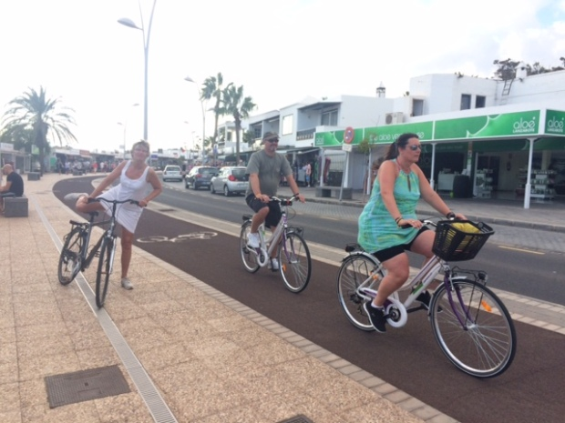 Visitors use hire bikes to get around in Puerto del Carmen